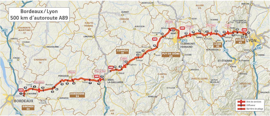 carte autoroute a89 sorties Valorisation de l'axe 89 (la transeuropéenne)   CCI Dordogne